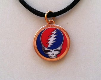 Lucky Penny Pendant Grateful Dead Steal Your Face Charm Necklace Chain or Cord Skull Lightning Bolt