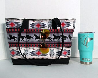 Horse Running Large Tote Or Diaper Bag With Front Pockets