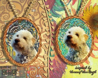 Lagotto Romagnolo Jewelry Pendant - Brooch Handcrafted Porcelain by Nobility Dogs - Gustav Klimt and Van Gogh