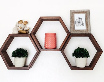 Set of 3 Hexagon Shelves, Honeycomb Shelves, Geometric Shelf, Choice of Stains (Dark Walnut shown), Nursery Decor, Gift for Her, Home Decor