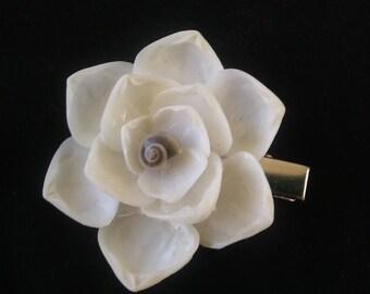 Deluxe White Shellblossom CLIP: Black Grey Swirled Ubonium