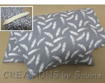 Corn Heating Pack Pillow Washable Cover Heat Bag Therapy Flannel Cotton Gray White Feathers Feather Design Nature Birds READY TO SHIP (538)