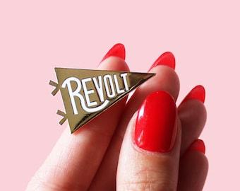 "NEW! Revolt Hard Enamel Gold Metal Cloissone Lapel Pin Feminist Flag 1.25"""