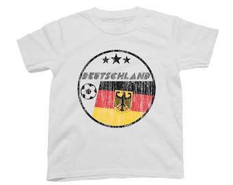 DEUTSCHLAND GERMANY Boys or Girls T-Shirt FOOTBALL World Cup 2018 Kids Circle Flag