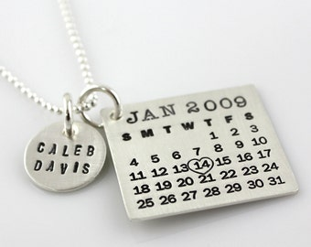 Hand Stamped Mark Your Calendar Necklace - personalized sterling silver necklace with name charm