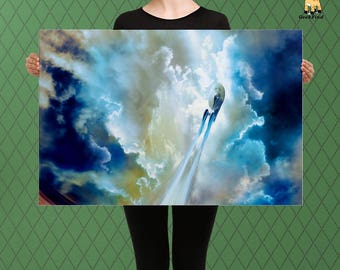 From the Stars, Starship Art, Enterprise Inspired, Custom Raised Canvas Art Piece