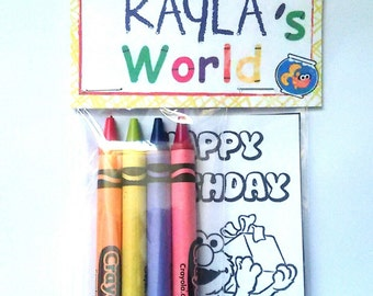 Sets of Personalized Sesame Street Elmo/ Elmo's World Birthday Party Favor Bags with mini coloring pages and crayons