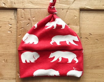 Camp Out Hat, Red, Organic Cotton, Bear, Baby Boy, Girl, Adventure, Gift, Newborn