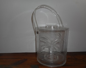 Mid Century Lucite Ice Bucket with Palm Trees
