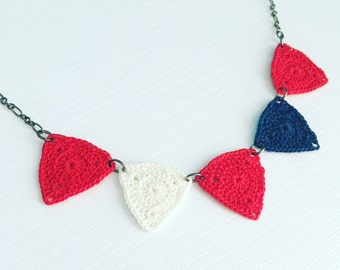 Bucktown Crochet Necklace in Nautical, Red White Blue Necklace, Bunting Necklace, Patriotic Jewelry, Triangle Necklace, Geometric Necklace