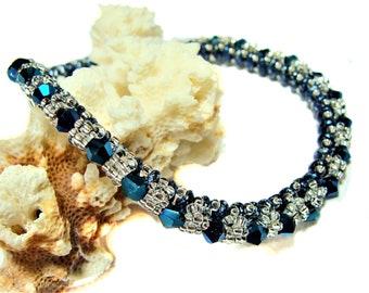 Sparkling Handmade Beaded Sapphire Blue and Crystal Bangle Bracelet