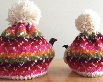 Knitting Pattern – Festivity Tea Cozy, knit fair isle faeroe color pattern tea cozy with spout and handle openings and pompom, PDF pattern