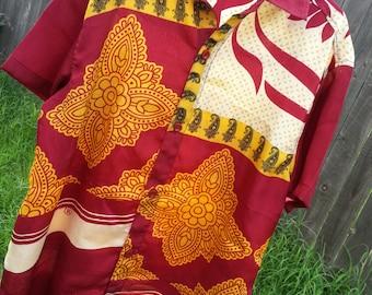 Youth Boys Short Sleeve, Ethnic Indian Sari Silk Button Down Shirt - Burgundy Ivory Floral - Sigge 3092