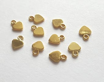 pack of 2, yellow 22k vermeil gold plated sterling silver 925, 7mm x5mm small heart tag, pretty [our ref 13-0008]