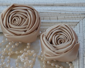 """2"""" Satin Fabric Roses, Champagne Satin Rolled Rosettes, Satin Roses, Rolled Roses, Fabric Flowers, Satin Flowers, Satin Rosettes, 30 Colors"""