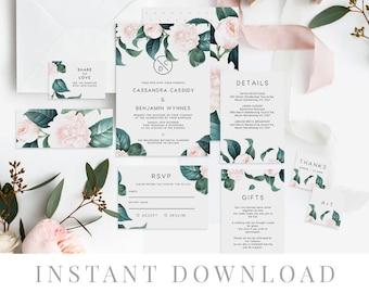 Green Leaves Wedding Invitation Set INSTANT DOWNLOAD, Wedding Invite, DIY Printable Invite, Templett, Rustic Invites, The Duchess