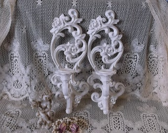 Candle Sconce pair, French country, Shabby white decor