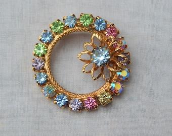 Circle Flower Rhinestone BROOCH ~ Vintage 1960s 60s Round Sweater Lapel Pin, Prong Set Pastel Rhinestones, AB Aurora Borealis Crystals