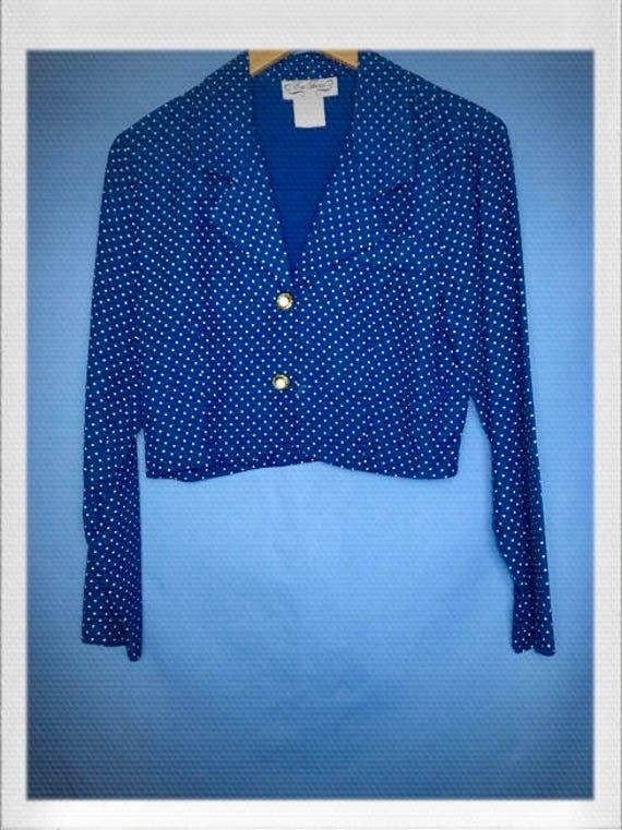 "Vintage Women's Polka Dot Cropped Jacket Blouse 18"" width 18"" length"