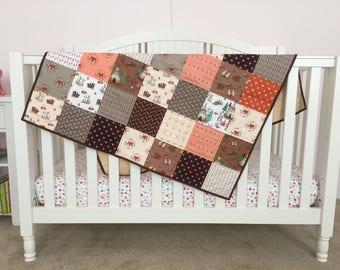 Baby Crib Play Quilt Woodland Animals Tee Pee