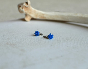 Blue Rose Earrings- Titanium Earrings Studs- Small Dark Blue Flower Posts- Hypoallergenic Earrings- Great For Sensitive Ears- Girl Birthday