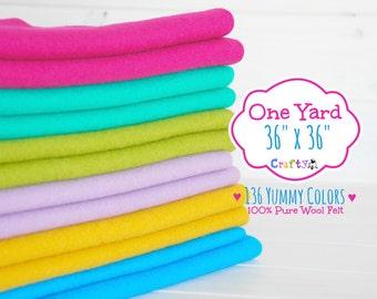 """1 Yard - 100%  Merino Wool Felt by the Yard - 36"""" X 36"""" - You Choose your Color - One Square Yard - Wool Felt Fabric - Felt by the Yard"""