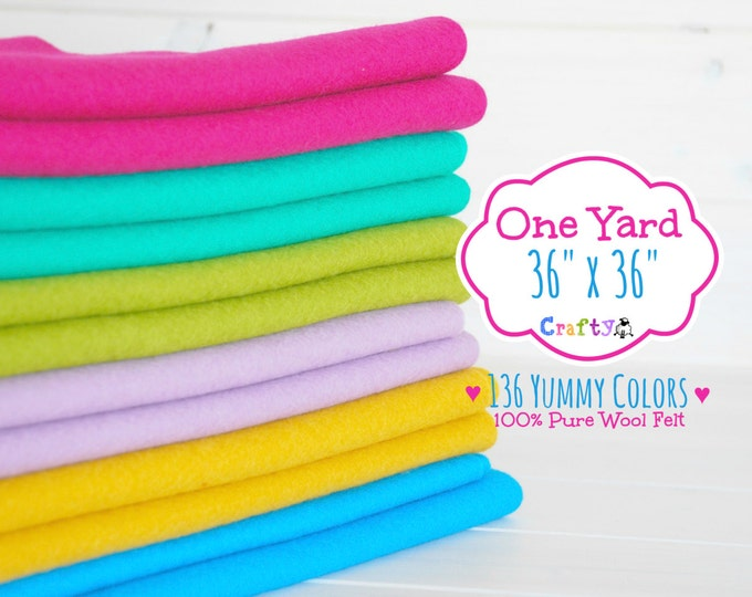 """Featured listing image: 1 Yard - 100%  Merino Wool Felt by the Yard - 36"""" X 36"""" - You Choose your Color - One Square Yard - Wool Felt Fabric - Felt by the Yard"""