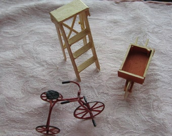 SALE Dollhouse Decor. Red Tricycle, White Ladder, and brown Wheelbarrow. #43