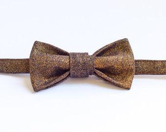 Handmade Bow Tie - Gold Glitter
