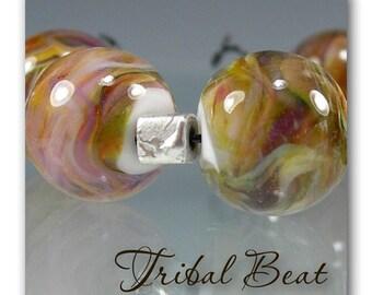 DMB ~Tribal Beat ~ 6 artisan lampwork round beads