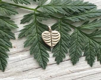 Silver Heart Charm- Hill Tribe silver charm- silver leaf charm 10mm