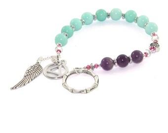Meditation Beads, 12 Step Recovery Program Beads - Amazonite & Amethyst, Thumb Ring