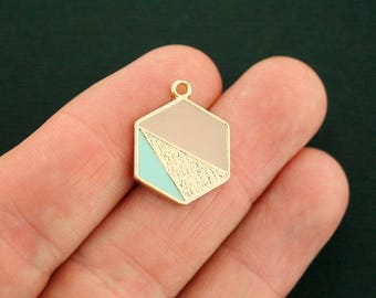 2 Geometric Charms Gold Tone and Enamel Pink and Mint Green - GC1250