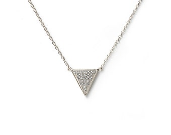 Triangle Necklace Sterling Silver, Silver Triangle Necklaces, Triangle Necklace with Crystals, Silver Necklace, Minimalist Necklaces, N263-S