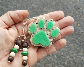 Dog Paw Keychain, Dog Lovers, Beach Paw, Beach Jewerly, Beach Lovers, Summer Jewerly, Ocean Lovers, Sand Beach
