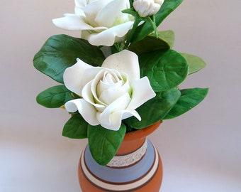 Flowers Cold Porcelain Miniature GARDENIAS Home Decor-Hand Made