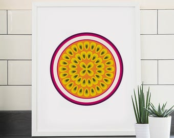 Passion fruit print – Fruit and vegetable prints – Kitchen art – Kitchen print – Food art – Food print – Wall art – Home decor