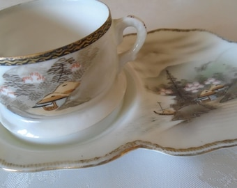 fine porcelain Japanese tea and toast hand painted mountains trees
