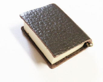 """Miniature Book Charm Miniature Journal Pendant Book Pendant Leather Book Tiny Book Charm Dark Brown Leather REAL PAGES 2.25"""" PREORDER"""