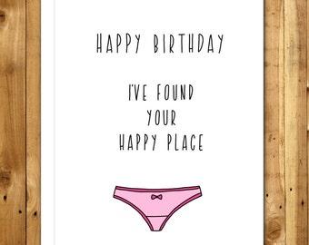 Boyfriend Birthday Card - Naughty Birthday Card For Boyfriend - Birthday Card For Husband - Birthday Card For Him - Funny - Happy Place 056