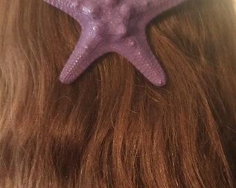 Starfish, ocean, Beach wedding, tropical wedding, bridal, starfish barrette, starfish hair clip, fish, ocean clip,purple, purple starfish