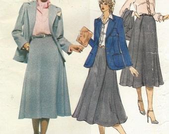 1970s Anne Klein Vogue Sewing Pattern 1947 Womens Retro Jacket, Skirt, Shirt & Scarf Size 12 Bust 34 UnCut Vintage American Designer Vogue