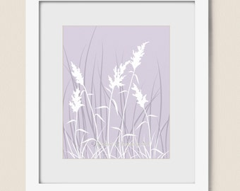 Nature Wall Art Print 11 x 14, Lavender Purple Living Room Décor, Wheat Grass Field, Home Decor (189)