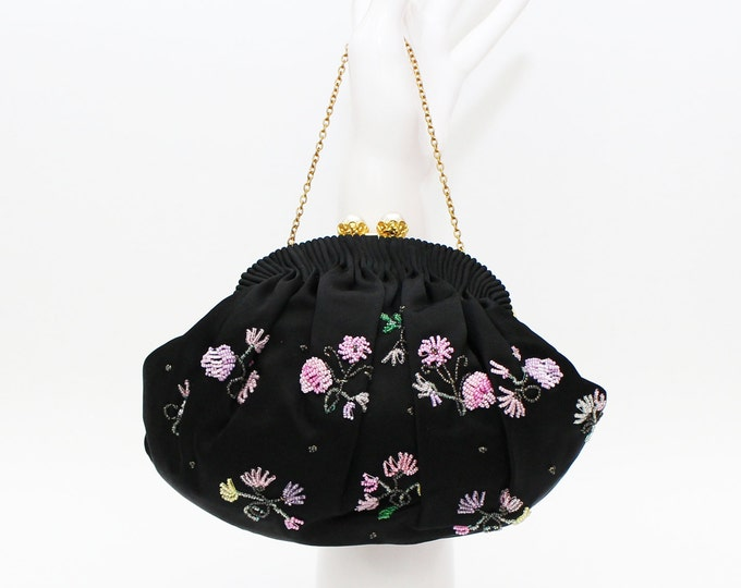 Black Beaded Evening Bag - Vintage 1950s Beaded Purse Made in France