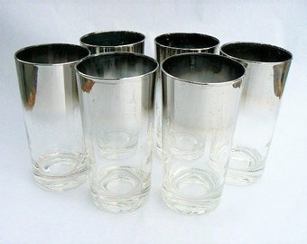 Two Silver Gray Fade Glasses / Vintage Mad Men Style 1960s Pair Classic  Tumbler Cocktail Barware