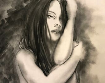 Woman Portrait, Naked Art, Naked Girl, Brush Painting, Watercolor Art, Abstract, Surreal  Artwork