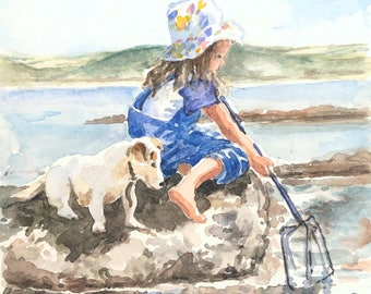 Child & dog fishing on the beach original watercolour