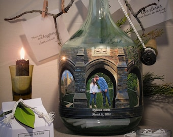 Wedding or Bridal Shower Guestbook Alternative, Messages In A Bottle Guestbook With Your Photo and Hand Painted Embellishments, Well Wishes