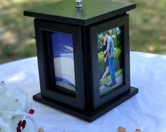 Rotating Sand Ceremony Photo Frame Box Set - Blended Family / Beach Wedding / Engagement gift / Unity ceremony / Rustic Wedding  / Wedding U