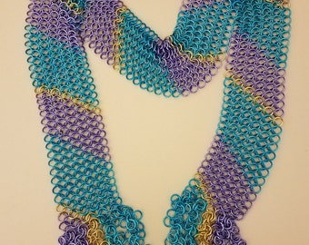 Large Chainmail Scarf, turquoise, lavender, and gold